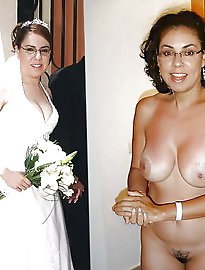 Horny Slutty brides dressed and undressed